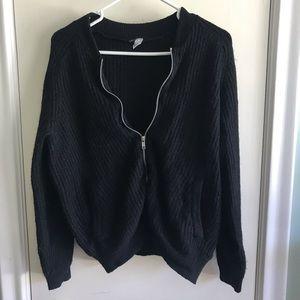 H&M black wool zip up